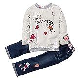Chic-Chic Ensembles Bébé Fille Sweatshirt & Pantalon Manches Longues Col Rond Motif Imprimé Animal Doux et Mignon