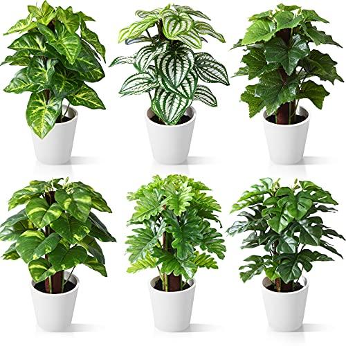 CROSOFMI Plantas Artificiales Interior 24 cm Mini Plastico Macetas Pequeñas Decorativas Plantas...