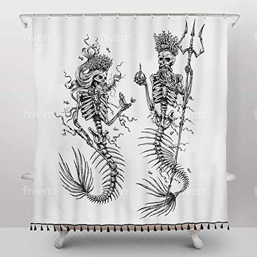 Flash Flood Mermaid Shower Curtain - Dead Sea Royalty Skeleton Design - Gothic Bathroom Decor - Waterproof Bath Cover with Rust-Proof Metal Grommets, 12 Stainless Steel Hooks - Black & White, Tasseled