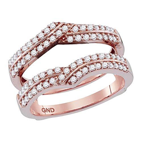 Anillo de oro rosa de 14 quilates para hombre y mujer con diamante redondo para proteger el solitario de 1/2 quilates para mujer
