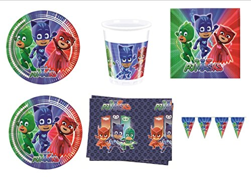 PJ Masks Super pigiamini coordonné décorations fête – Kit N ° 34 CDC- (40 assiettes, verres, 40 serviettes, 1 nappe, 1 bannière)
