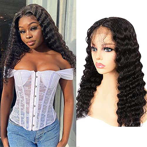 Loose Deep Wave Closure Wigs Human Hair Brazilian 4x4 Lace Front Deep Wave Wig Pre Plucked With Baby Hair Natural Color for Black Women 18Inches