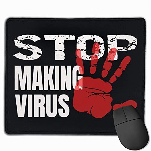 Stop CORONAVIRUS Rectángulo Alfombrilla de Goma Antideslizante Alfombrilla de ratón para Juegos 25X30cm