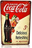 K&H Delicious Coke Tin Sign Metal Tin Wall Signs Poster 12X8-Inch