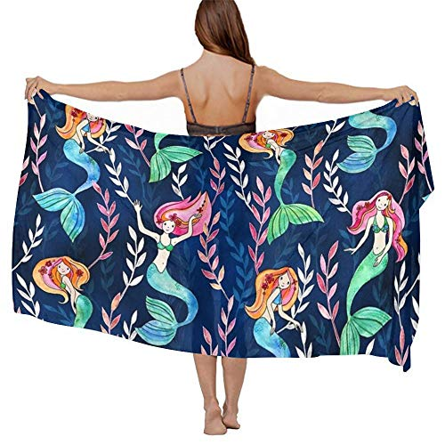 Fashion Scarf Wrap - Vacasion Evening Party Swimwear Shawls Cashmere Feel Soft Cozy Cover Up Long Summer Elegant Cape Sunscreen Paisley Shawls, Little Merry Mermaids