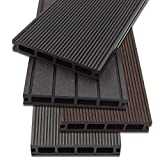Home Deluxe - WPC decking dark brown - Quantity: 18 m² - Three different colors - Incl. Substructure and compl. equipment