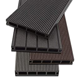 Home Deluxe - WPC decking anthracite - Quantity: 12 m² - Three different colors - Incl. Substructure and complete accessories