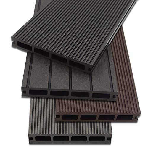 Home Deluxe - WPC Terrassendiele Dunkelbraun - Inkl. Unterkonstruktion und kompl. Zubehör (1 m²) | Terrassenboden Poolumrandung Balkonbelag