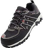 LARNMERN Zapatos Seguridad,Calzado de Trabajo para Hombre Anti-punción Puntera de Acero Botas de Seguridad Trabajo Calzado Seguridad Hombre(40 EU,Gris Negro)