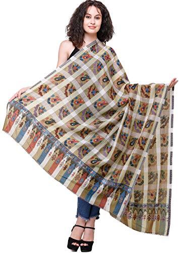 Chal exótico India Kani Jamawar de Amritsar con cuadros tejidos y flores multicolor, Sponge, Talla única