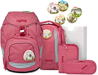 ergobag Paketset – ergonomisk skolryggsäck, set 6 delar – lamor i björn – rosa