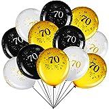 45 Globos de 12 Pulgadas para Fiesta de 70 Cumpleaños Decoración de Fiesta de Aniversario 70 Lobo Fiesta Temática Negro Oro Blanco para Decoración de Fiesta de Cumpleaños