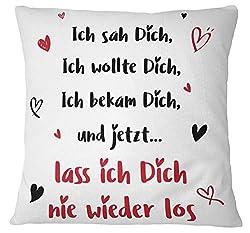 Tassenbrennerei Kissen mit Spruch Ich SAH Dich, Ich wollte Dich - Ich Liebe Dich Geschenk für Freund, Freundin (Rot)