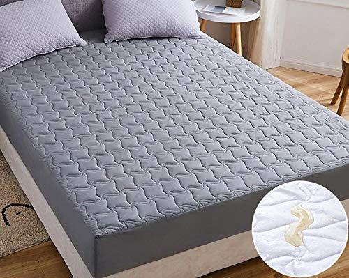 XLMHZP Anti-Ácaros Cubre Colchón,Sábana Impermeable, Protector de colchón Transpirable y Lavable, sábana de Ajuste Fijo Antideslizante Acolchado Grueso-B_180x220cm + 30cm