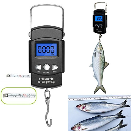 Stainless Steel Portable Fishing Weighing Scale 110lb/50kg Weight Electronic Balance Digital Fish Hook Hanging Weigher with Measuring Tape Ruler