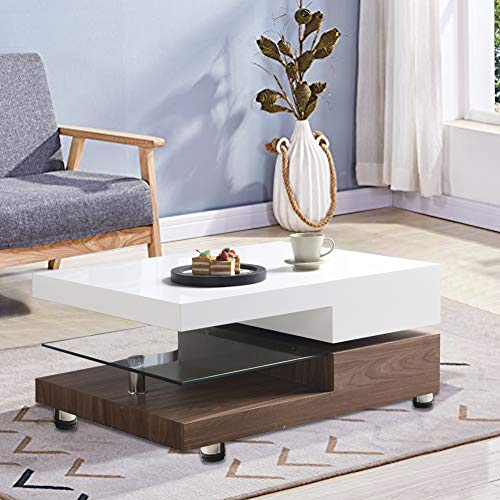 GOLDFAN High Gloss Coffee Table Rotating Rectangle Tea Table with Glass Storage Shelf Side Table for Living Room Home Office, White/Brown