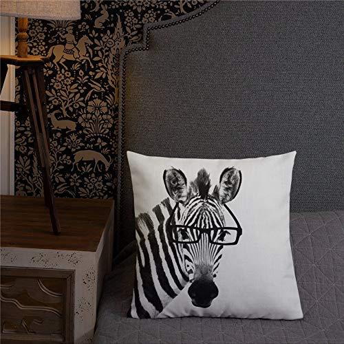 EricauBird PatricianPrints - Funda de cojín con diseño de cebra con gafas cuadradas y relleno de poliéster hilado en ambos lados, diseño de animales modernos en blanco y negro