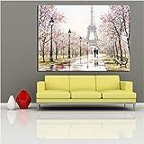 Romantique Ville Couple Paris Tour Eiffel Paysage Abstrait Peinture À L'huile sur Toile Affiche Imprimer Mur Photo pour Salon 60x80 cmPas de Cadre