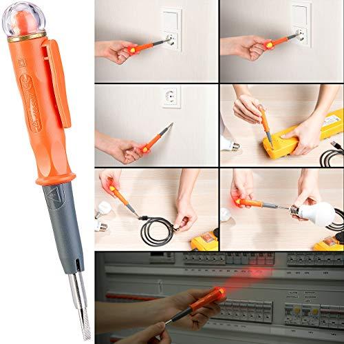 revolt Phasenprüfer: Multifunktions-Spannungsprüfer und Induktions-Tester, LED, Halte-Clip (Multimeter)
