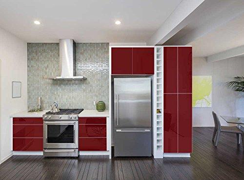 INDIGOS UG - Aufkleber für Küchenschränke 63x500cm GLANZ - purpurrot - Folie aus hochwertigem PVC Tapeten Küche Klebefolie Möbel wasserfest für Schränke selbstklebende Folie Küchenfolie Dekofolie