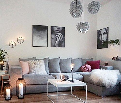 Amaris Elements | 'Moore' Ecksofa inkl. 6 Kissen | Samt Sofa Länge 3m grau | Couch Garnitur mit Ecke rechts | Eckcouch L-Form Stoff in Samtoptik