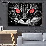 KWzEQ Imprimir en Lienzo Gato Blanco y Negro con Ojos Rojos póster en imágenes Decorativas para la decoración del hogar de la habitación30x40cmPintura sin Marco