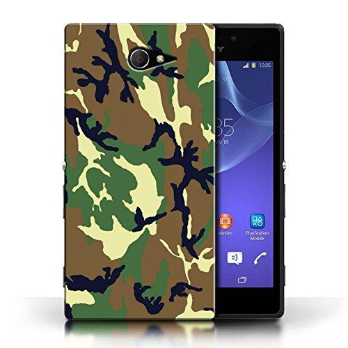 Hülle Für Sony Xperia M2 Armee/Tarnung Grün 4 Design Transparent Ultra Dünn Klar Hart Schutz Handyhülle Case
