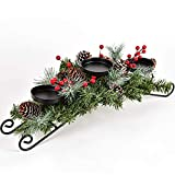 Lvydec Christmas Candle Holder Centerpiece - Pine Cones and Red Berry Table Centerpiece with 3 Candle Holders for Festival Home Decoration, 20' x 10' x 6'(L x W x H)
