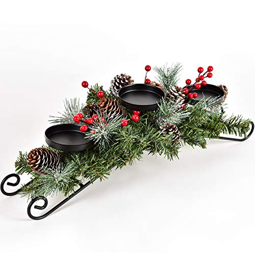 "Lvydec Christmas Candle Holder Centerpiece - Pine Cones and Red Berry Table Centerpiece with 3 Candle Holders for Festival Home Decoration, 20"" x 10"" x 6""(L x W x H)"