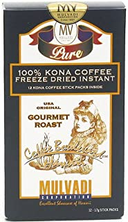 Mulvadi 100% Kona Coffee Freeze Dried Instant 12 Single Servings (Pack of 3)