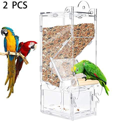 ZXL Window Bird Feeder, automatische Bird Feeder Box für Käfig, No Mess Acryl Bird Seed Feeder, Arten von Wetter. 2PCS