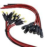 Yeung Qee - Cable de alimentación de 10 conectores macho y 10 hembras DC para cámara de vigilancia de seguridad de alimentación y conexión de iluminación con tiras LED