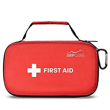 Compact First Aid Medical Kit - 121 Piece - Hard Carry Case Perfect for Home, Car, Camping, Office, Travel, Hiking, and Sports