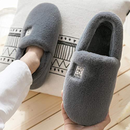 Ririhong Cámara de Aire,Zapatillas de algodón para Mujer, hogar de Invierno, Interior, Suela Gruesa, Antideslizante, Paquete de Aislamiento térmico -40_Light_Gray