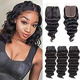 Loose Deep Wave Human Hair Bundles with Closure 4x4x1 Middle T Part 10A Unprocessed Brazilian Deep Curly Hair 3 Bundles with Closure Short Weave Hair Human Bundles (10 10 10+10, 70g/Bundle)