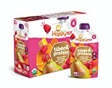 Happy Family Happy Tot Organic Fiber & Protein Pouch Stage 4 Pears Raspberries Butternut Squash & Carrots, 4 Ounce Pouch (8 Pack)