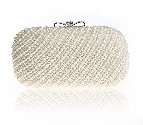 HONGCI Glitter Faux Perle Perlen Braut Handtasche Hochzeit Abend Band Rhinestone Embedded Frame Geldbörse (Beige)