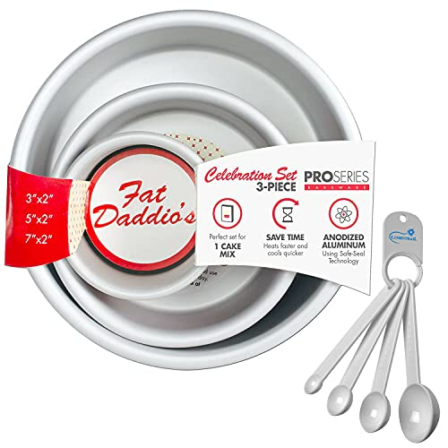 Fat Daddios Anodized Aluminum Round Cake Pan Celebration Set, Set of 3, Silver, 1-Box Mix, with a Lumintrail Measuring Spoon Set