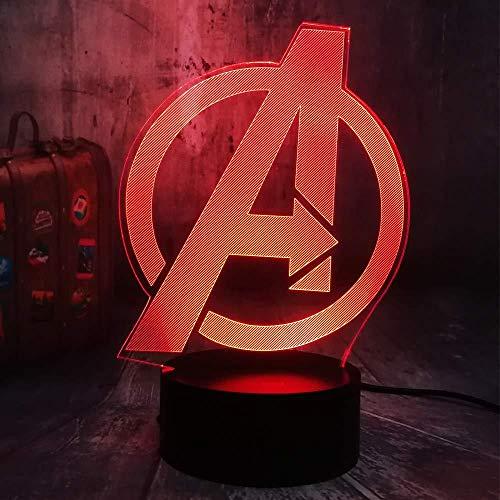 Boutiquespace Marvel Legends Los Vengadores Símbolo Logo 3D RGB LED noche luz superhéroe Iron Man Capitán América Juguetes para niños Bebé Ilusión óptica Lámpara de mesa Dormitorio Decoración