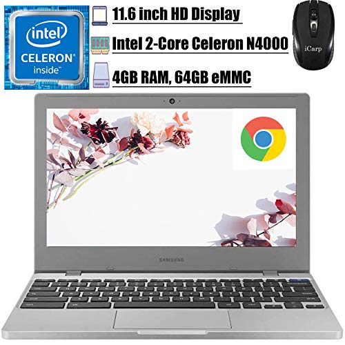 "2020 Flagship Samsung 11 Chromebook 4 Laptop Computer 11.6"" HD Display Intel Celeron Processor N4000 4GB DDR4 64GB eMMC Gigabit WiFi Type C Webcam Chrome OS + iCarp Wireless Mouse"