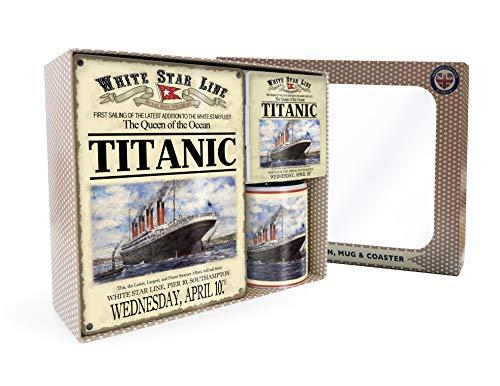 og Titanic White Star Line Geschenkset, inkl. Tasse + Untersetzer + Schild