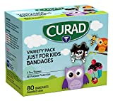 CURAD Just for Kids Bandages, 4 Fun Themes, Colorful, All-Purpose Protection Plastic Bandages, 4-Sided Seal, Variety of Sizes, 80 Count - CURVPACK6