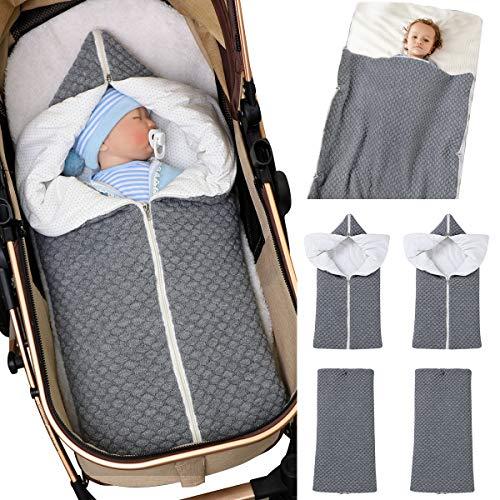 Baby Wrap Wickeldecke Strick Schlafsack Schlafsack Kinderwagen Wrap Weich Warm für 0-12 Monate Babys Unisex