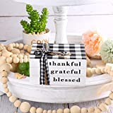 Jetec Farmhouse Wooden Stacked Decorative Books, Thankful Grateful Blessed Black and White Plaid Stacked Books for Living Room Coffee Table Decor, Bookshelf Entry Way Tiered Trays Decorations
