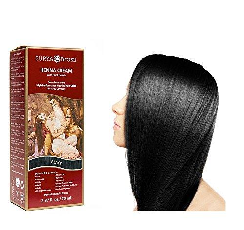 Surya - Coloration des Cheveux Blancs - Henna Black Cream - 70ml - Couleur Noir