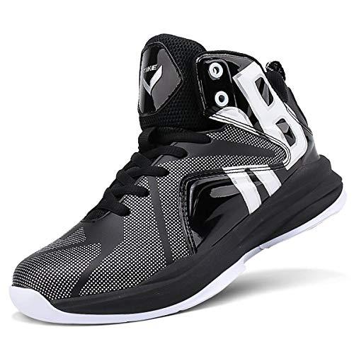 Zapatos de Baloncesto Hombre Alto para Ayudar a los Zapatos Deportivos Zapatillas para Niños(Negro-2,43 EU)
