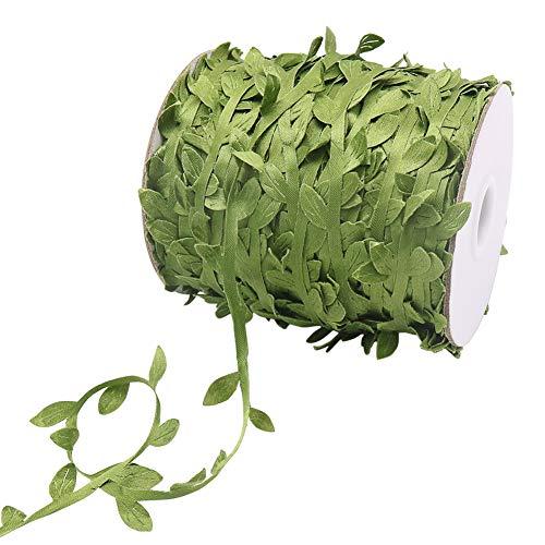 tenn well Leaf Vine Ribbon, 100M Artificial Flora Leaf Vine Greenery Garland Satin Shimmer Ribbon for DIY Crafts Wedding Party Wall Decoration