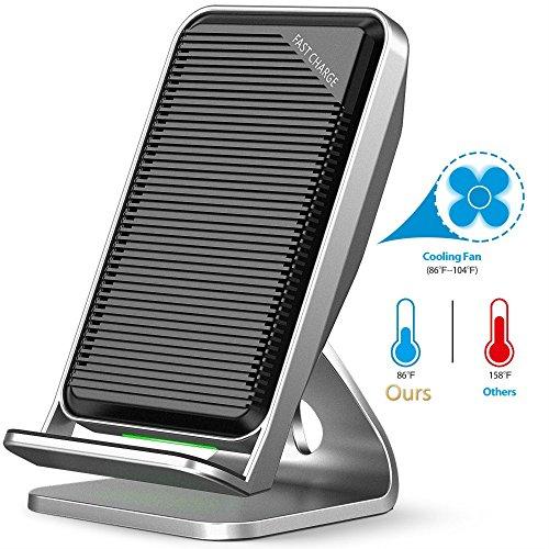 Fast caricabatterie wireless, 2-coil supporto di ricarica wireless Qi con ventola di raffreddamento per Samsung Galaxy S9/Plus/Note 8, 7.5 W Charing stazione per iPhone 8/8 Plus/iPhone X XS