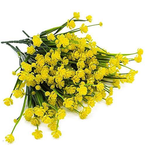 6 Piezas de Flores Artificiales, Plantas Falsas Resistentes a los Rayos UV al Aire Libre para Caja de Ventana, Cementerio, Patio, Patio Interior, jardín, Oficina, decoración de Boda (Color : Yellow)