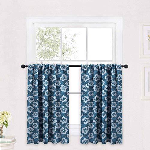 ScottDecor Blue Half Window Tier Curtain for Bathroom Pattern of Hawaiian Hibiscus Flowers and Leaves Exotic Hawaii Island Nature 30 x 63 inch for Small Window Kitchen Bedroom Bathroom